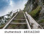 metallic ladder on mount... | Shutterstock . vector #683162260