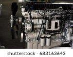 diesel engine close up - stock photo