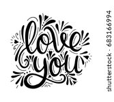 love you. vector hand drawn... | Shutterstock .eps vector #683166994