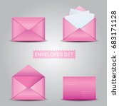 realistic pink envelope with... | Shutterstock .eps vector #683171128