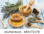various dried meadow herbs and... | Shutterstock . vector #683172178