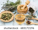 various dried meadow herbs and... | Shutterstock . vector #683172196