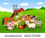 farm background with animals  | Shutterstock . vector #683176540