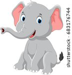 happy elephant cartoon sitting | Shutterstock . vector #683176744