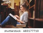 female student reading and... | Shutterstock . vector #683177710