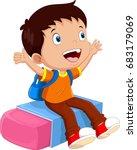 School Boy Sitting On An Eraser