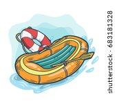 inflatable boat with lifebuoy... | Shutterstock . vector #683181328