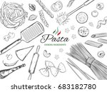italian pasta frame. different... | Shutterstock . vector #683182780