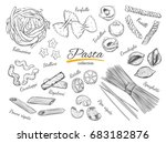 italian pasta frame. different... | Shutterstock . vector #683182876