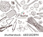 italian pasta set. different... | Shutterstock . vector #683182894
