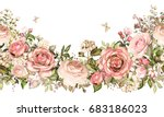 Stock photo isolated seamless border with pink flowers leaves vintage watercolor floral pattern with leaf and 683186023