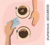 lovers drink coffee in a cafe... | Shutterstock .eps vector #683188030