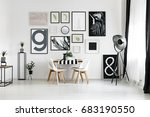 dining table by the white wall... | Shutterstock . vector #683190550