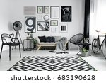 patterned carpet in cozy... | Shutterstock . vector #683190628