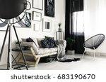 wooden sofa and fancy black... | Shutterstock . vector #683190670