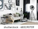 posters on the wall above... | Shutterstock . vector #683190709