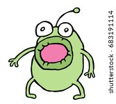 amazed green alien opened his... | Shutterstock .eps vector #683191114