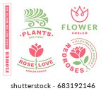 set flowers logo   ...   Shutterstock . vector #683192146