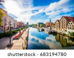 Old Town and granaries by the Brda River. Bydgoszcz, Poland.