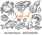salmon  tuna fish steak  crab ... | Shutterstock . vector #683196046