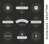 luxury logos templates set ... | Shutterstock .eps vector #683197969