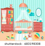 baby boy room with furniture.... | Shutterstock .eps vector #683198308