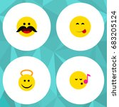 flat icon face set of cheerful  ... | Shutterstock .eps vector #683205124