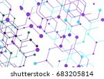geometric lines and dots. line... | Shutterstock .eps vector #683205814