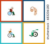 flat icon handicapped set of... | Shutterstock .eps vector #683206180