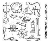 set of objects on marine theme... | Shutterstock .eps vector #683206390