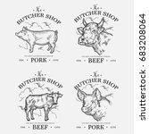 farm animal livestock. pig and... | Shutterstock . vector #683208064