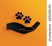 hand holding paw symbol. animal ... | Shutterstock .eps vector #683208154