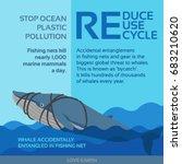 ocean plastic pollution whale...   Shutterstock .eps vector #683210620