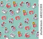 motherhood icons pattern.... | Shutterstock . vector #683212303