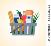 shopping basket with food and... | Shutterstock .eps vector #683216713