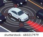 vehicle autonomous driving... | Shutterstock .eps vector #683217979