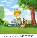 boy reading book outdoors under ... | Shutterstock .eps vector #683219158