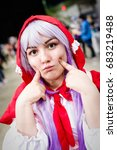 Small photo of Sheffield, UK - June 04, 2017: Cosplayer dressed as character 'Kanna Kamui' from the manga and anime 'Miss Kobayashi's Dragon Maid' at the Yorkshire Cosplay Convention at Sheffield Arena.