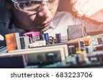 the technician is putting the... | Shutterstock . vector #683223706