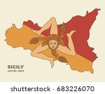 flag of sicily in the form of a ... | Shutterstock .eps vector #683226070