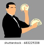 magician performing trick with... | Shutterstock .eps vector #683229208