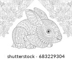 coloring page. rabbit from...   Shutterstock .eps vector #683229304