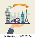 the hand holds the sights of... | Shutterstock .eps vector #683229904