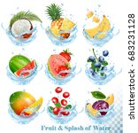 big collection of fruit in a... | Shutterstock .eps vector #683231128