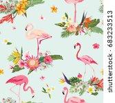 flamingo bird and tropical... | Shutterstock .eps vector #683233513