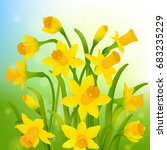 spring post card with narcissus  | Shutterstock . vector #683235229