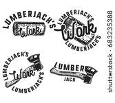 vintage lumberjack emblems.... | Shutterstock . vector #683235388