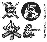 vintage summer camp emblems.... | Shutterstock . vector #683235469