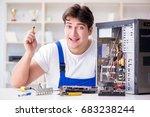 computer repairman repairing... | Shutterstock . vector #683238244