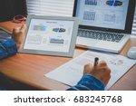 businesswoman analyzing... | Shutterstock . vector #683245768